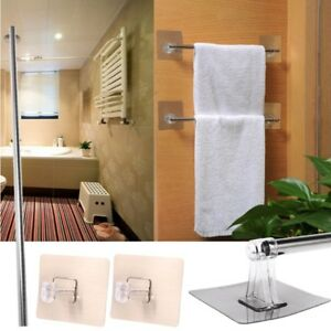 Stainless Steel Wall Mounted Towel Rack Bathroom Storage Rail Shelf Holder Shelf