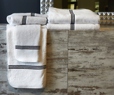 Signoria Firenze Trilogy Luxury Towel Bath Sheet - Ivory/Espresso - Set of 4