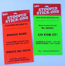 VTG X2 STOOPID STICK-ONS STICKERS SCHOOL LOCKER BINDER AMERICAN GREETINGS (1980)
