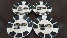 Le Gourmet Chef Ceramic Appetizer Plates x4 Casino Chips DW/MS Black & White