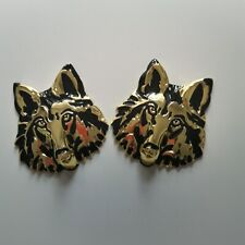 2pcs 3D Wolf Head Pattern SOLID Metal Car Motorcycle Sticker Decal Emblem Badge