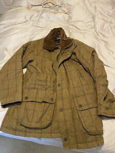 Men's BARBOUR Pure WOOL DOGTOOTH Tweed FIELD Coat Jacket Shooting - L
