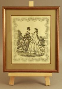 """Vintage 1800s Colored Etching Victorian Women By the Sea Framed 13"""" X 15"""" NICE"""