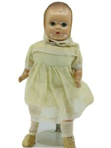 """DIY DOLL COMPOSITION 16"""" CLOTH BODY METAL EYES BLUSH PINAFORE LEATHERETTE TOY"""