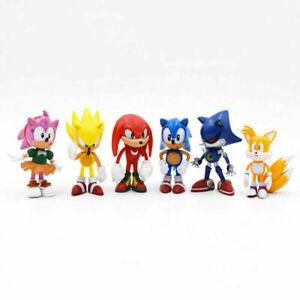Sonic Classic The Hedgehog PVC 6 PCS Action Figure Model Kids Toy Cake Topper