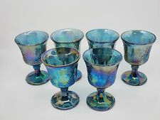 Indiana Carnival Glass Blue Iridescent Set of 6 Wine Goblets Grape Harvest