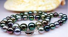 """20""""11-12mm Natura Tahitian genuine peacock gold multicolor round pearl necklace"""