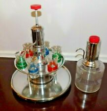 Vintage Art Deco Portable Table Top Chrome Bar & 6 Shot glasses & Extra Bottle