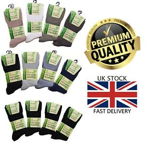 New Men's 12 Pairs Non Elastic Bamboo Diabetic Gentle Soft Top Grip Socks