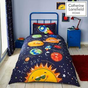 Catherine Lansfield Happy Space Blue Duvet Covers Kids Quilt Cover Bedding Sets