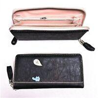 NEW Black Cute Cat & Mouse Long Wallet Purse Bag Leather Women Handbag Zipper