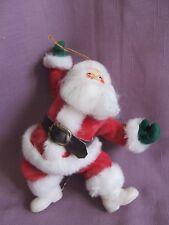 """Flocked Dancing Santa Ornament Large 8"""""""
