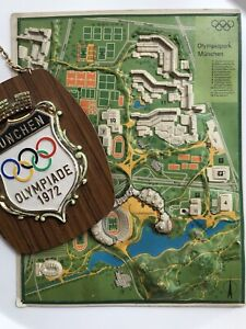 OLYMPIC GAMES MUNICH MÜNCHEN 1972 OFFICIAL 3D MODEL MAP OLYMPIA PARK & PLAQUE