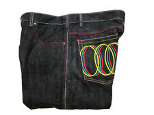 Risk Company Mens Jeans Size 40 X 32 Black Embroidery #X6