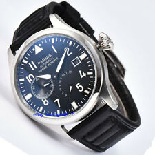 Luxury 47mm Parnis Mens Gents Automatic Watch Seagull Power Reserve Wristwatches