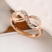 Size 6-9 Women Jewelry Rose Gold Plated Infinity Wedding Crystal Rhinestone Ring