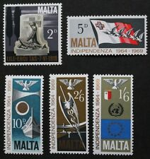 5th anniversary of independence stamps, Malta,1969, SG ref: 422-426, MNH