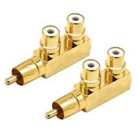 2Pcs Gold Plated 1 Male to 2 Female RCA Splitter Adapter AV Video Audio F Plug