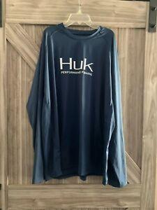 MENS HUK LONG SLEEVE FISHING SHIRT 14423 XXLARGE 2XLARGE BLUE JERSEY