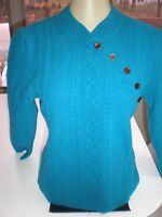 DVF Diane Von Furstenberg Merino Wool Sweater SIZE MEDIUM TEAL COLOR  SOFT WARM