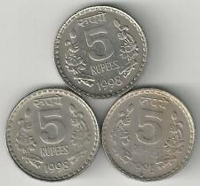 3 DIFFERENT 5 RUPEE COINS from INDIA (1998B, 1998H & 1998N)