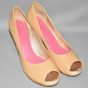 LILLY PULITZER $238 Nude Leather Basket Weave Wedge Size 10 M