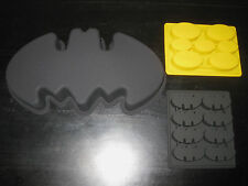 BATMAN LOGO SILICONE BIRTHDAY CAKE PAN CHOCOLATE CANDY MOLD ICE TRAY SET OF 3