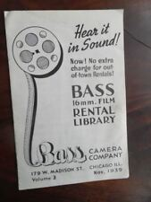 1939 Bass Camera Company 16mm Movie Film Rental Library Catalog Vintage Chicago