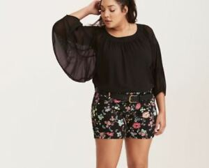 "Torrid Belted Sateen Cuffed Shorts Black Floral Stretch Women's sz 10 x 5"" M / L"