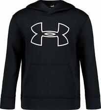 Boys Kids Youth UNDER ARMOUR Long Sleeve Pullover Hoodie NEW Gray Orange Large