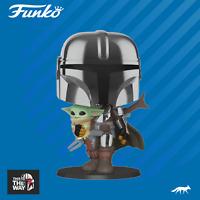 Star Wars 10-Inch MANDALORIAN WITH THE CHILD #380 Chrome Funko Pop Vinyl Figure