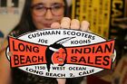 Long+Beach+Indian+Motorcycle+Cushman+Motor+Scooters+Gas+Oil+Porcelain+Metal+Sign