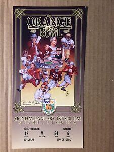 1996 Florida State vs Notre Dame Orange Bowl Football Full Ticket VERY GOOD