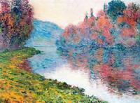 """CLAUDE MONET ~ Banks of the Sienne river~ *FRAMED* CANVAS ART Poster ~ 16""""X 12"""""""