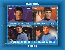 Congo 2018 CTO Star Trek Spock Leonard Nimoy 4v M/S Stamps