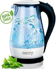 Glas Wasserkocher 1,7 Liter,2000 Watt mit blauer LED Innenbeleuchtung, WEISS NEU