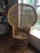 Vintage LARGE COOL  Rattan bamboo peacock WICKER cane RETRO 70's CHAIR