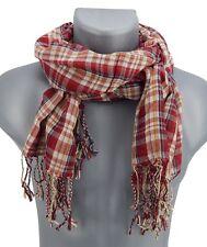 Men's scarf bordeaux red beige von Ella Jonte Checkered lightweight Ware newin