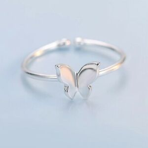 Fashion Stunning Butterfly Adjustable Ring 925 Sterling Silver Ladies Girls Gift
