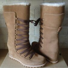 UGG Mason Waterproof Chestnut Suede Lace Corset Wedge Tall Boots Size 6 Womens