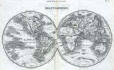 Mappamondo. Grande Carta Geografica. Kupferstich.Gravure cuivre.Copperplate.1866