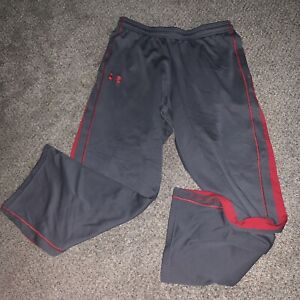 Under Armour Loose Fit Gray Red Athletic Pants Mens Medium Exellent Condition