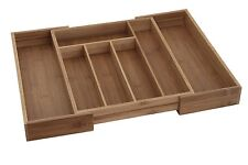 Extendable Bamboo Cutlery Box Wood Kitchen Drawer Organiser Utensil Storage Tray