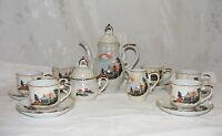 Vintage Iridized Porcelain Tea Set 6 Cups Saucers Creamer Sugar Tea Pot Japan