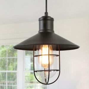 LNC Pendant Lighting 1-Light Black Mini Pendant with Modern Industrial Metal