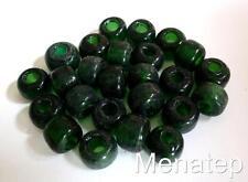 25 5 x 9mm Czech Glass Roller/Crow Beads: Green Emerald