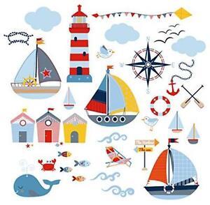Wall Decals Stickers Decor Nursery Kids Room Nautical Sailboat Ocean Boys New