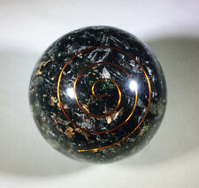 LARGE (60-70mm) BLACK TOURMALINE ORGONE GEMSTONE SPHERE ORGONITE SPHERE