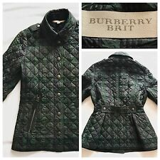 Burberry veste manteau matelassé doudoune vert carreaux s small | burberry brit