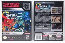 Contra III The Alien Wars - NO GAME - Super Nintendo SNES Custom Case